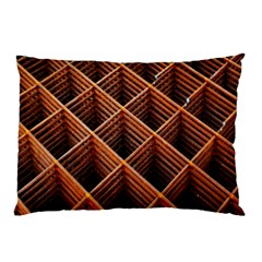 Metal Grid Framework Creates An Abstract Pillow Case (two Sides) by Amaryn4rt