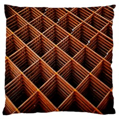 Metal Grid Framework Creates An Abstract Large Cushion Case (two Sides) by Amaryn4rt