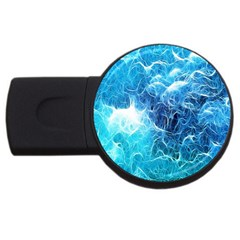 Fractal Occean Waves Artistic Background Usb Flash Drive Round (2 Gb) by Amaryn4rt
