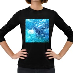 Fractal Occean Waves Artistic Background Women s Long Sleeve Dark T Shirts by Amaryn4rt