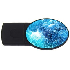 Fractal Occean Waves Artistic Background Usb Flash Drive Oval (4 Gb) by Amaryn4rt
