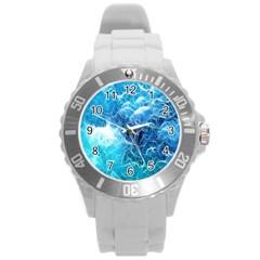 Fractal Occean Waves Artistic Background Round Plastic Sport Watch (l) by Amaryn4rt