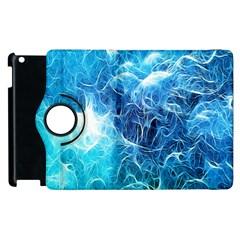 Fractal Occean Waves Artistic Background Apple Ipad 2 Flip 360 Case by Amaryn4rt