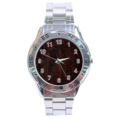 Black And Red Background Stainless Steel Analogue Watch by Amaryn4rt