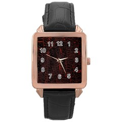 Black And Red Background Rose Gold Leather Watch  by Amaryn4rt