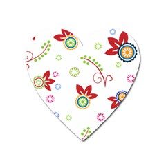 Colorful Floral Wallpaper Background Pattern Heart Magnet by Amaryn4rt
