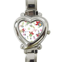 Colorful Floral Wallpaper Background Pattern Heart Italian Charm Watch by Amaryn4rt