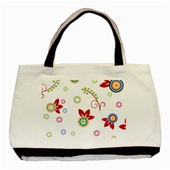 Colorful Floral Wallpaper Background Pattern Basic Tote Bag by Amaryn4rt