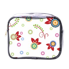 Colorful Floral Wallpaper Background Pattern Mini Toiletries Bags by Amaryn4rt
