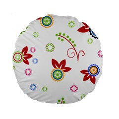 Colorful Floral Wallpaper Background Pattern Standard 15  Premium Round Cushions by Amaryn4rt