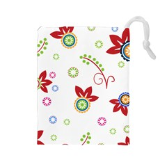 Colorful Floral Wallpaper Background Pattern Drawstring Pouches (large)  by Amaryn4rt