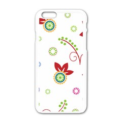 Colorful Floral Wallpaper Background Pattern Apple Iphone 6/6s White Enamel Case by Amaryn4rt