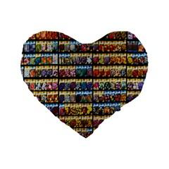 Flower Seeds For Sale At Garden Center Pattern Standard 16  Premium Heart Shape Cushions by Amaryn4rt