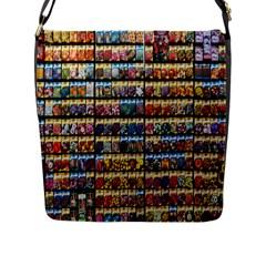 Flower Seeds For Sale At Garden Center Pattern Flap Messenger Bag (l)  by Amaryn4rt