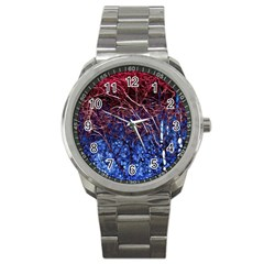 Autumn Fractal Forest Background Sport Metal Watch by Amaryn4rt