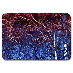 Autumn Fractal Forest Background Large Doormat  by Amaryn4rt