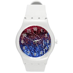 Autumn Fractal Forest Background Round Plastic Sport Watch (m) by Amaryn4rt