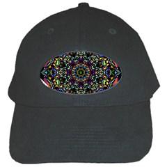 Mandala Abstract Geometric Art Black Cap by Amaryn4rt