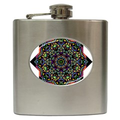 Mandala Abstract Geometric Art Hip Flask (6 Oz) by Amaryn4rt