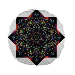 Mandala Abstract Geometric Art Standard 15  Premium Flano Round Cushions by Amaryn4rt