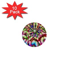 Magic Fractal Flower Multicolored 1  Mini Buttons (10 Pack)  by EDDArt