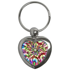 Magic Fractal Flower Multicolored Key Chains (heart)  by EDDArt