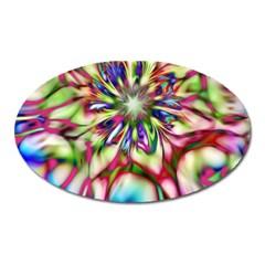 Magic Fractal Flower Multicolored Oval Magnet by EDDArt