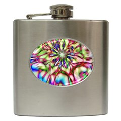 Magic Fractal Flower Multicolored Hip Flask (6 Oz) by EDDArt