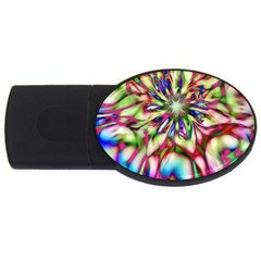 Magic Fractal Flower Multicolored Usb Flash Drive Oval (4 Gb) by EDDArt