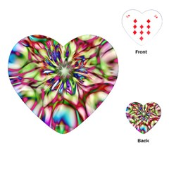 Magic Fractal Flower Multicolored Playing Cards (heart)  by EDDArt