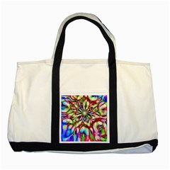 Magic Fractal Flower Multicolored Two Tone Tote Bag by EDDArt