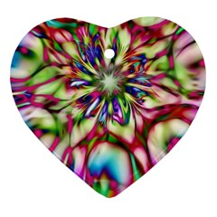 Magic Fractal Flower Multicolored Heart Ornament (two Sides) by EDDArt