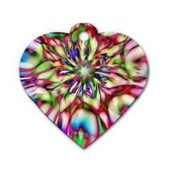 Magic Fractal Flower Multicolored Dog Tag Heart (one Side) by EDDArt