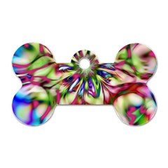 Magic Fractal Flower Multicolored Dog Tag Bone (one Side) by EDDArt