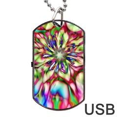 Magic Fractal Flower Multicolored Dog Tag Usb Flash (one Side) by EDDArt