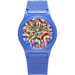 Magic Fractal Flower Multicolored Round Plastic Sport Watch (s) by EDDArt