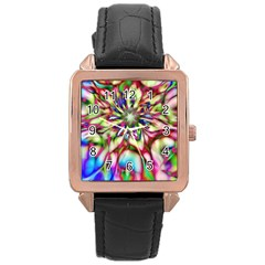 Magic Fractal Flower Multicolored Rose Gold Leather Watch  by EDDArt