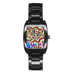 Magic Fractal Flower Multicolored Stainless Steel Barrel Watch by EDDArt