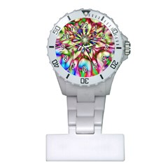 Magic Fractal Flower Multicolored Plastic Nurses Watch by EDDArt