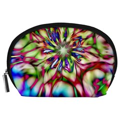 Magic Fractal Flower Multicolored Accessory Pouches (large)  by EDDArt