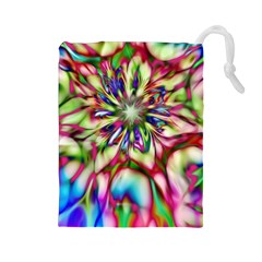 Magic Fractal Flower Multicolored Drawstring Pouches (large)  by EDDArt