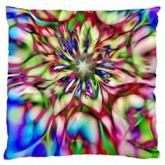 Magic Fractal Flower Multicolored Standard Flano Cushion Case (one Side) by EDDArt