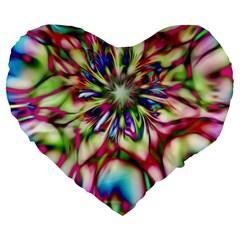 Magic Fractal Flower Multicolored Large 19  Premium Flano Heart Shape Cushions by EDDArt