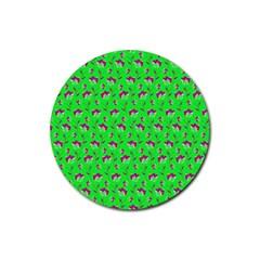 Floral Pattern Rubber Coaster (round)  by Valentinaart