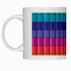 Pattern Grid Squares Texture White Mugs by Amaryn4rt