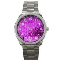 Purple Background Scrapbooking Paper Sport Metal Watch by Amaryn4rt