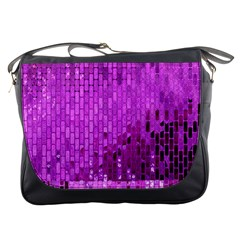 Purple Background Scrapbooking Paper Messenger Bags by Amaryn4rt
