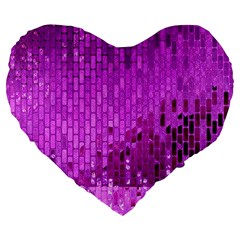 Purple Background Scrapbooking Paper Large 19  Premium Flano Heart Shape Cushions by Amaryn4rt