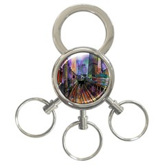 Downtown Chicago 3 Ring Key Chains by Amaryn4rt