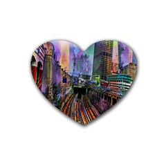 Downtown Chicago Rubber Coaster (heart)  by Amaryn4rt